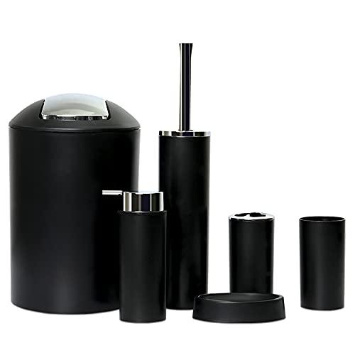 GMMH Set di 6 accessori da bagno, con dispenser per sapone, portasapone e scopino per WC. Nero Design 2