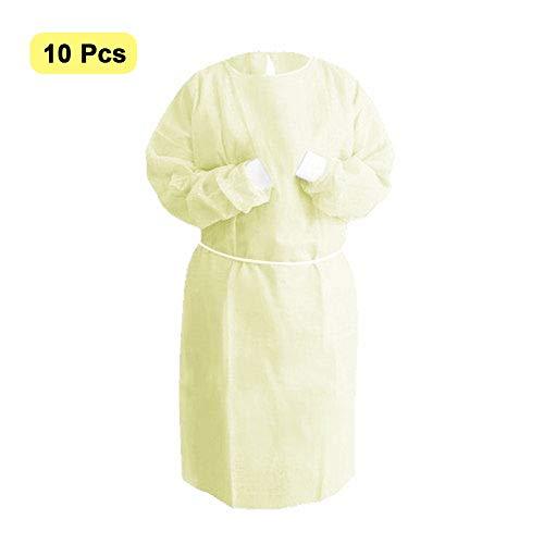 Ploufer - Camice di protezione monouso, a maniche lunghe, usa e getta, uso interno, anti appannamento, per interni ed esterni, per donne e uomini, 10 pezzi L Si