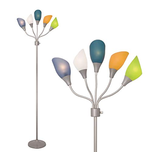 Adjustable Modern Floor Lamp by Lightaccents - Multihead Stand up Lamp Bedroom Light with 5- Head Positionable Multicolor Acrylic Reading Shades 5 arm Room Light (Grey)