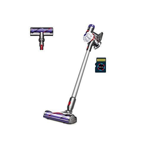 Dyson V7 Allergy HEPA Cordless Ergonomic Telescopic Handle Vacuum Cleaner, White + Delca 32GB MicroSD Card