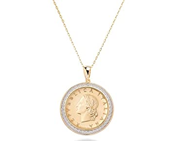 Miabella 18K Gold over Sterling Silver Diamond Accent Genuine Italian 20 Lira Coin Pendant Necklace for Women 18 Inch Chain 925 Medallion Necklace Made in Italy