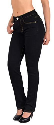 ESRA Damen Jeans Hose Damen Jeanshose gerader Schnitt Straight bis Übergrösse J25