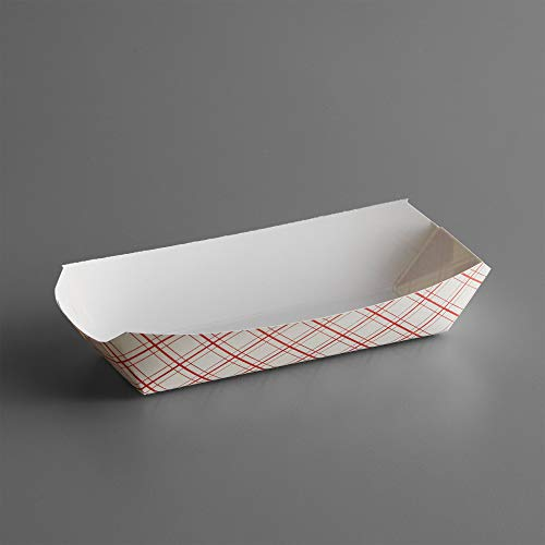 7' Red Checker Paper Hot Dog Trays- Pack of 100ct