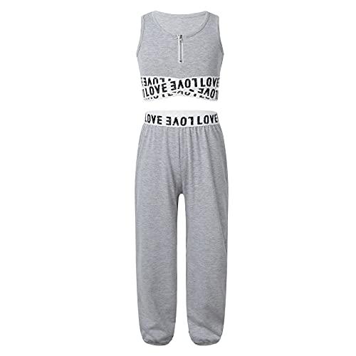 CHICTRY Mädchen Sport Kleidung Set Bunt Trainingsanzug Tanzbekleidung Sport Bustier Crop Top mit Lang Hose Leggings Fitness Sportwear Gr. 98-164 Grau mit Zip 158-164