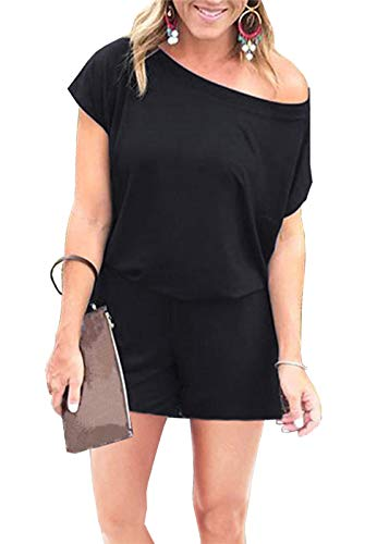 PRETTYGARDEN Women's Summer Casual Off Shoulder Short Sleeve Shorts Loose Jumpsuit Rompers with Pockets Black