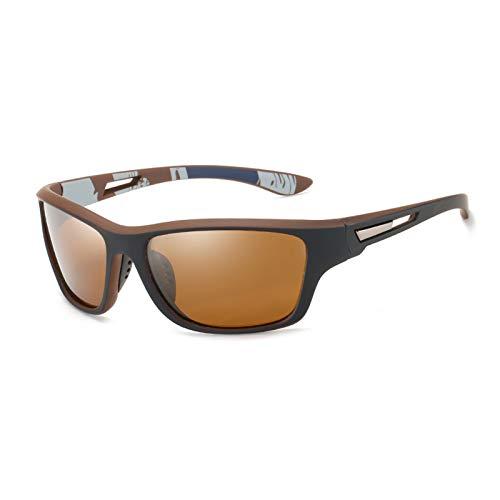 Polarisierte Sportbrille Sonnenbrille Herren Fahrradbrille mit UV400 Schutz für Damen & Herren Autofahren Laufen Radfahren Angeln Golf Sonnenbrille (Braun)