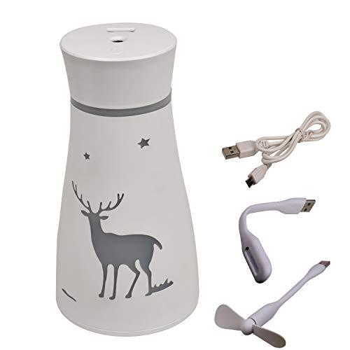 Humidificador de aire. con mini luz y mini ventilador. Humidificador de niebla fría de 200 ml / 7 oz, adecuado para la habitación del bebé,oficina, casa. Se apaga automáticamente sin agua.