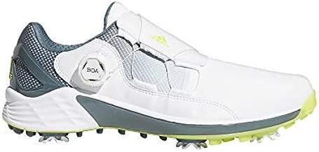 adidas mens Zg21 Boa Golf Shoe, White/Acid Yellow/Blue Oxide, 10 US
