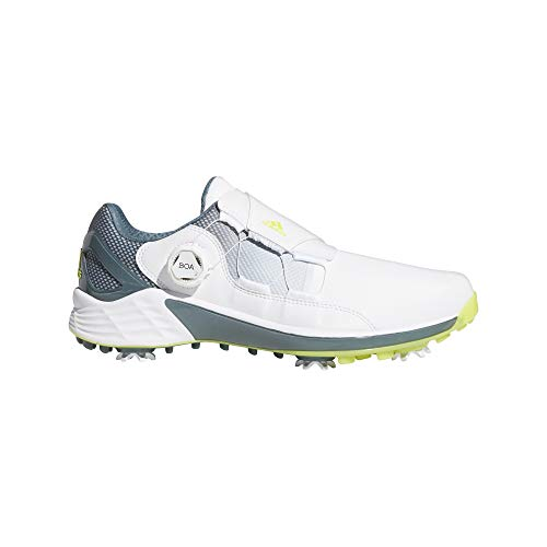 adidas mens Zg21 Boa Golf Shoe, White/Acid Yellow/Blue Oxide, 13 US