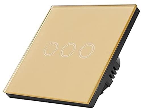 KFJZGZZ Interruptor Tactil Interruptor de la luz de la Pared del Interruptor táctil de Cristal 1/2/3 Gang AC 110-220 Interruptor Inteligente