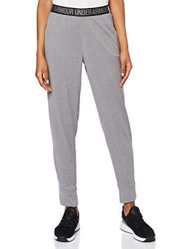Under Armour Damen Play Up Pants Solid Hose, Carbon Heather/Metallic Silver, M