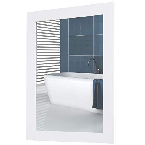 kleankin Specchio da Parete con Cornice in MDF e Vetro Argentato, Specchio Camera da Letto e Bagno, 52x1.9x72cm Bianco