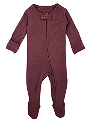 L'ovedbaby Organic Zippered Footed Overall (NB/Preemie (4-7 lbs), Eggplant)
