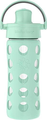 Lifefactory 16oz Active Flip Cap Mint Glass Water Bottle product image