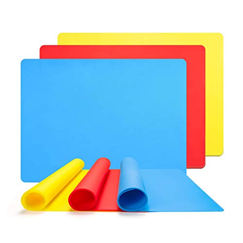 Muscccm 3 Pack Extra Large Silicone Sheet for Crafts Casting Moulds Mat, Food Grade Silicone Placemat, Multipurpose Mat, Nonstick Nonskid Heat-ResistantBlue & Red & Yellow
