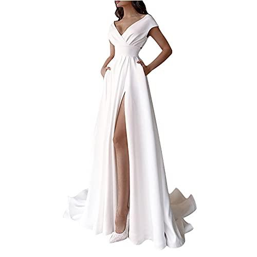 Brautkleider A-Linie Spitze Damen Hochzeitskleider V-Ausschnitt Lange Ballkleid Brautmode Prinzessin Kleider Hochzeitskleider Standesamt Damen...