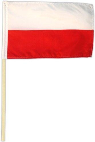 Fahne Flagge Polen 30 x 45 cm mit Stab