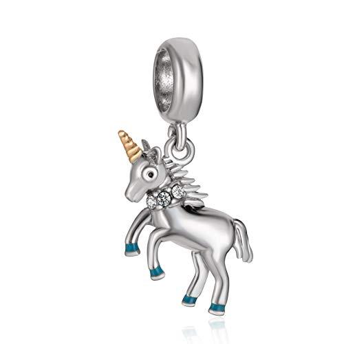 Abalorio de unicornio de plata de ley 925 con diseño de animal para pulsera Pandora B