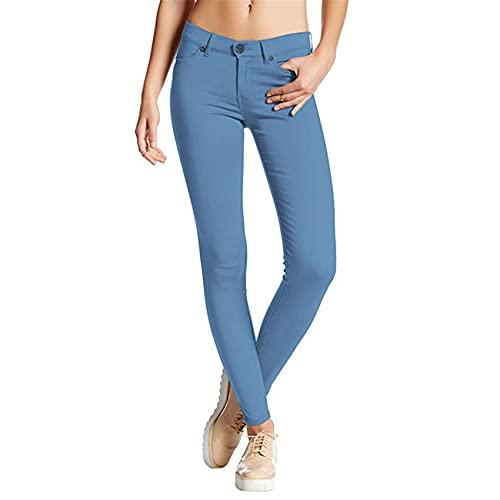 Pantalones De Mujer De Primavera Y Verano Pantalones Casuales De Mezclilla De Color SóLido Ajustados EláSticos