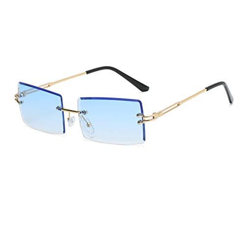 Yojued Rechteckige Retro-Sonnenbrille für Damen und Herren, Mode, Vintage, kleine quadratische Brille, randlos, Rahmen, getönte Gläser, UV400 Schutz, Klassisch, Blau