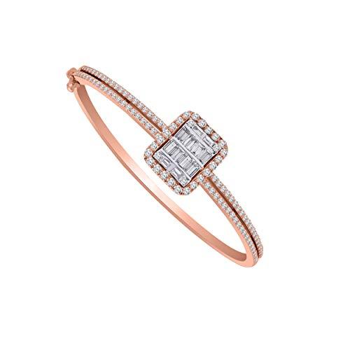 10K 純金 ラウンド&バゲット形状 本物のダイヤモンド ハロースタイル バングルブレスレット (1.79 Ct)