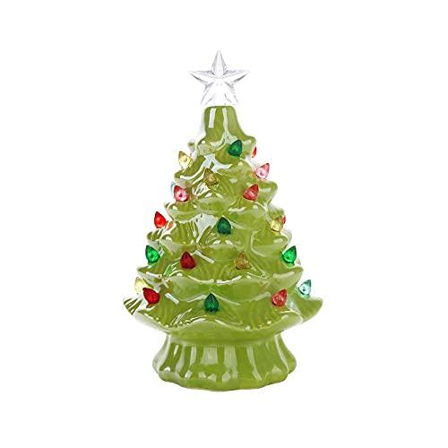 Árbol de Navidad de cerámica verde de 6.3 pulgadas con luces LED con pilas, decoración de árbol de Navidad de mesa retro preiluminada con luces multicolores y adorno de estrella de 7 puntos