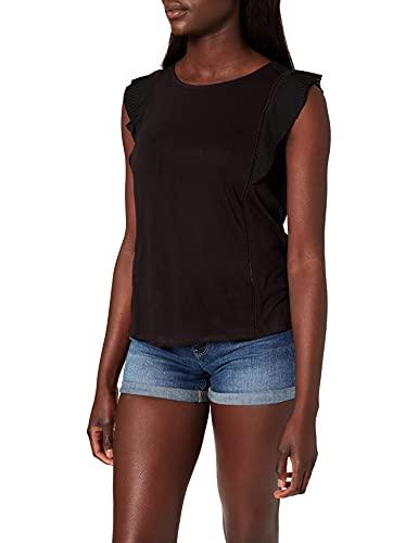 Springfield Camiseta Hombro Volante Plisado, Negro, L para Mujer