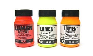 Colori LUMINESCENTI - per pareti, tessuti, etc... BRILLANO AL BUIO (Giallo limone)