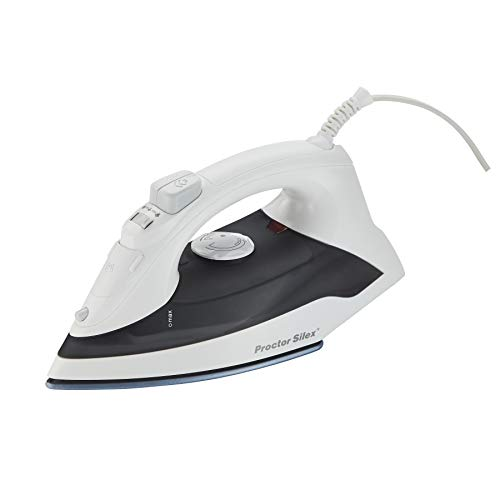 Proctor Silex Iron & Vertical Steamer for Clothes with DuraGlide Ceramic Nonstick Soleplate, 1200 Watts, Adjustable Steam Settings, White (17011)