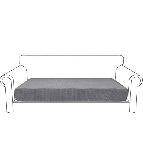 Granbest Premium Wasserdicht Sofa Sitzkissenbezug, High Stretch Jacquard Sitzkissenschutz Sofasitzbezug für Couch (3 Sitzer, Hellgrau)