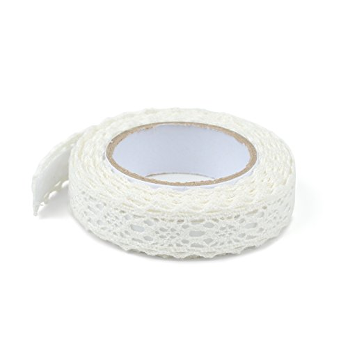 Simplydeko Selbstklebende Spitze (selbstklebendes Spitzenband, Spitzen-Tape selbstklebend) (Weiß)