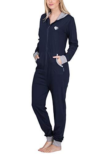 maluuna – Damen Jumpsuit, Onesie, Overall, Einteiler mit Bündchen an Arm- und Beinabschluss aus 100% Baumwolle Farbe:Navy/grau-Melange - 3