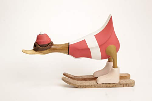 Brave Wings Hand Carved and Painted Wooden - Skiing Duck in Swiss Switzerland Flag Ski Jacket Type 4 - Wood Ornament Sculpture Figurine Statue Unique Decoration Home Decor Gift for Christmas - 2681