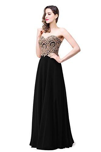 MisShow Damen elegant Größe Größen Abendkleider Ballkleider Cocktailkleider Trägerlos Ballkleider Schwarz EU20W