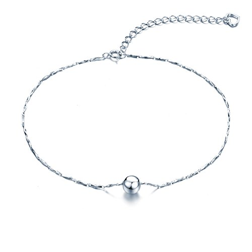 925 Sterling Silver 11 Inch V Chain Anklet/Ankle Bracelet/Ankle Chain includes Ball & Heart Charms In Pretty Gift Box- Adjustable (New Style)