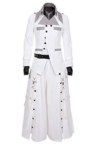 Helymore Final Fantasy 7 Remake Rufus Shinra Cosplay Kostüm Herren Halloween FF7 Kostüm Mantel Hosen komplettes Set Gr. X-Large, weiß