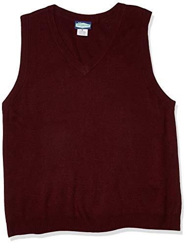 Classroom School Uniforms Men's Adult Unisex V-Neck Sweater Vest, Burgundy, Medium