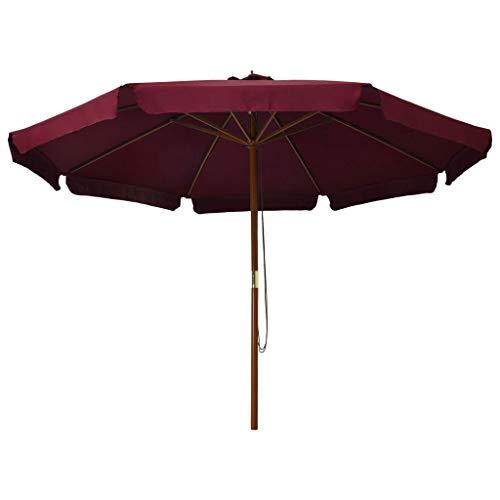 Kshzmoto Sombrilla de jardín con Palo de Madera Parasol para Terraza Jardín Balcón Mástil Protección UV y Impermeable Color Burdeos 330 cm