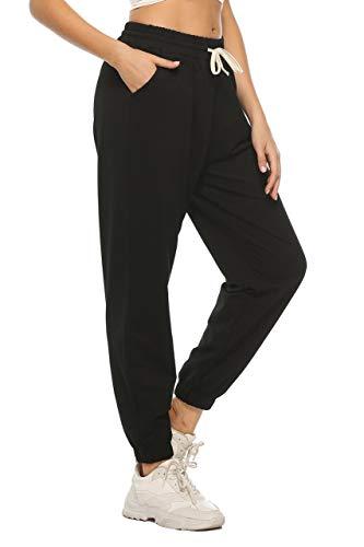 LNX Damen-Sporthose aus Baumwolle, lockere Passform, mit Taschen Gr. S, Schwarz