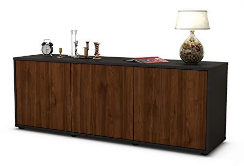 Stil.Zeit Möbel TV Schrank Lowboard Allegra, Korpus in anthrazit matt/Front im Holz Design Walnuss (135x49x35cm), mit Push to Open Technik, Made in Germany