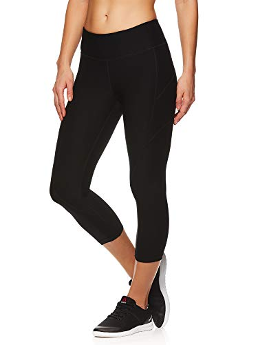 Reebok Women's Printed Capri Leggings With Mid-Rise Waist Performance Compression Tights, Black, X-Large