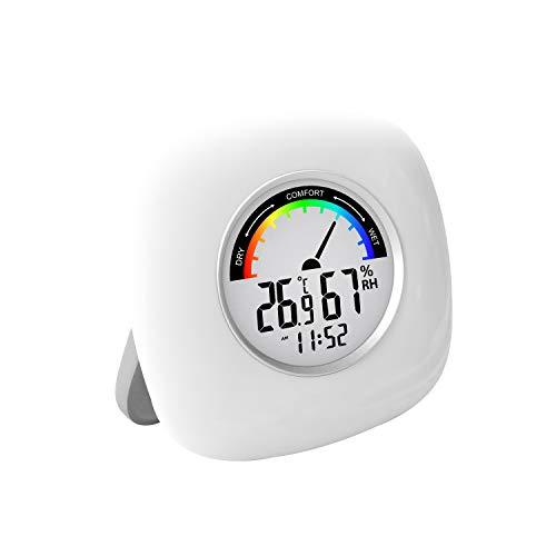 Digitales Thermometer-Hygrometer mit Uhr für zu Hause [präzise und leicht] Überwachung der Raumtemperatur und Luftfeuchtigkeit in Innenräumen für Büro, Arbeitszimmer, Kühlschrank, Küche und mehr. Weiß
