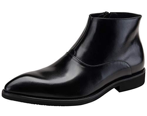 Botas de Vestir Piel Genuina Botines Chelsea Boots Botas para Hombre Invierno con Cremallera Negro Borgoña