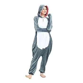 Afoxsos Adult Shark Onesie Pajamas - Unisex One Piece Cosplay Shark Animal Costume Grey