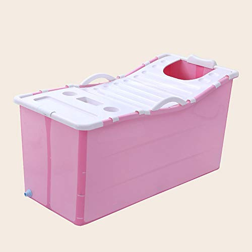 ZSLLO Bañera Bañera Plegable Bañera de baño para Adultos Bañera de plástico portátil Barril de baño Grande Bañera de Masaje para el hogar Bañera de hidromasaje Utensilios de baño (Color : Rosa