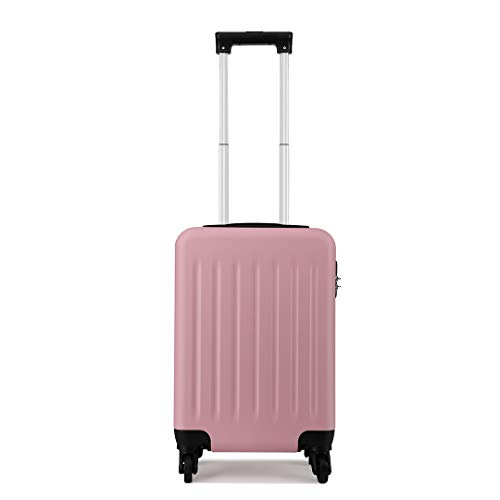 Kono Cabin Suitcase Hard Shell Children's Luggage On Wheels 48x30x20 cm 27L (XS (48cm-27L), Pink)
