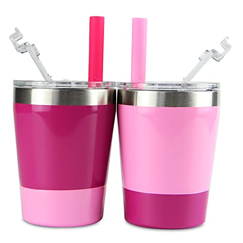 Housavvy Toddler Cups, 2 Pack Easy Cleaning Stackable Kids Cups Vacuum Insulated Double Wall Stainless Steel Cups with BPA Free Lids and Straws, Dishwasher Safe, 8.5 Oz, Pack of 2, Pink/Rose