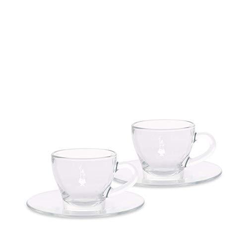 Bialetti Set 2 Tazzine Espresso Istituzionali (con Piattino), Vetro, 2 unità