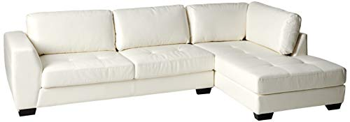 Baxton Studio Orland Leather Modern Sectional Sofa Set with Right Facing Chaise, White