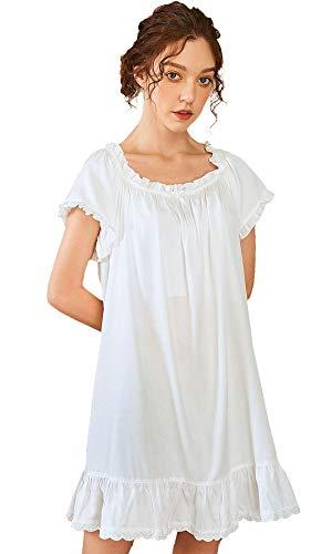 Nanxson 100% Baumwolle Nachthemd Vintage Viktorianisch Nachtwäsche Kurzarm Nachtkleid für Damen SQW0010 (S, Weiß-10)